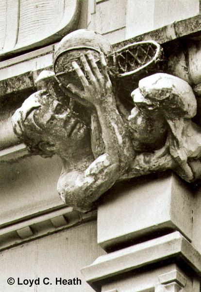 Basketball gargoyles on SW facade of Savery Hall
