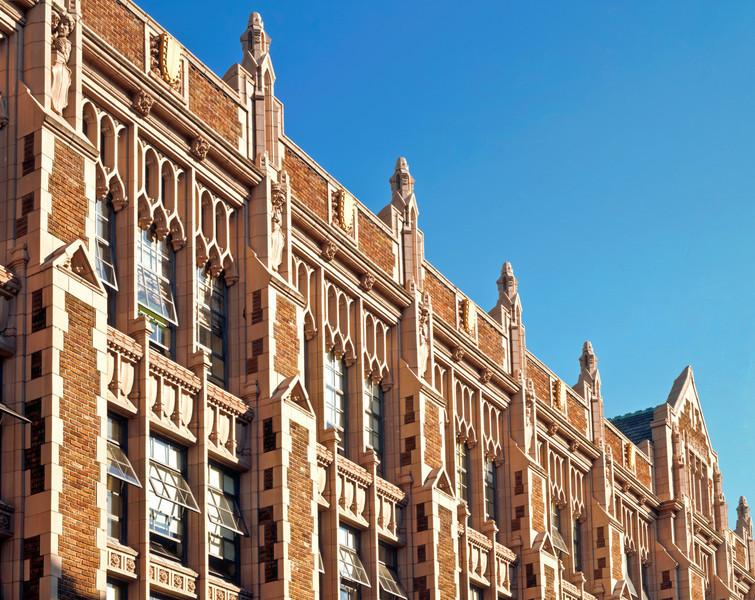 SE facade of Miller Hall with gargoyles.
