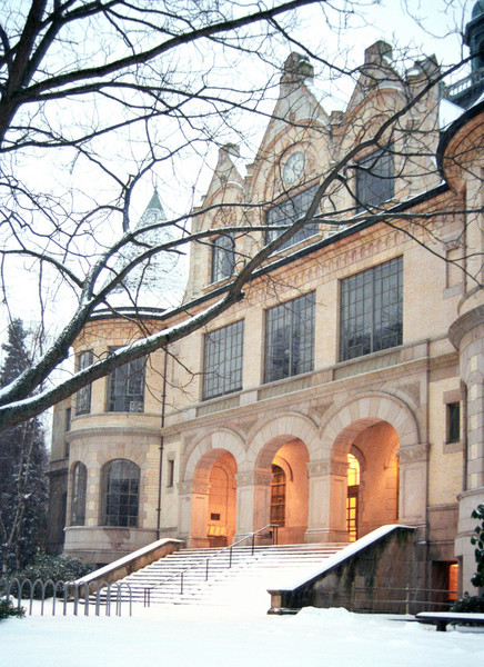 Denny Hall at dusk after a December, 1996 snowfall