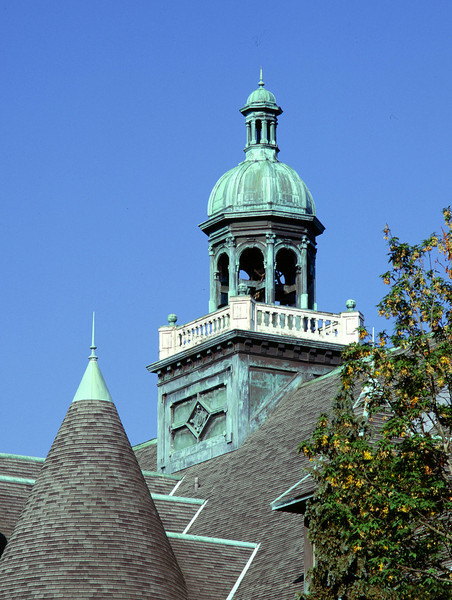 Zig zag roof and bell tower on Denny Hall
