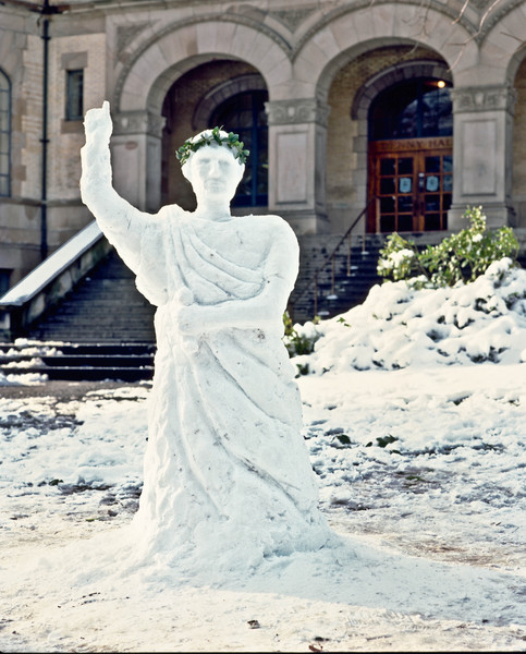 Snow sculpture of Cicero by Classics students.  January, 1989.  Denny Hall is in the background