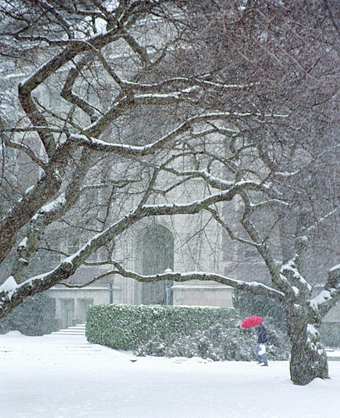 Raitt Hall during a snowstorm in December, 1996
