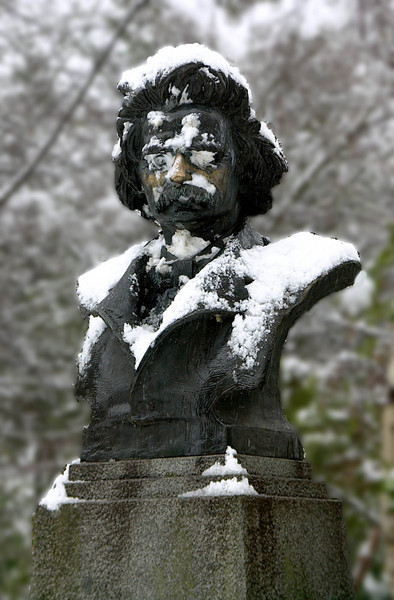 Edvard Grieg, Norwegian composer, in the snow