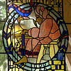 Stained glass above entrance to Miller Hall