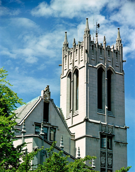 Gerberding Hall tower.  Note Neptune gargoyle at peak of roof