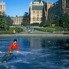 Chemistry PhD student playing hockey on Frosh Pond in January, 1989