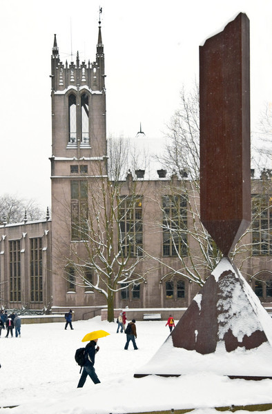 Red Square showing Broken Obelisk and Gerberding Hall in the snow