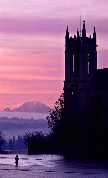 Mt Rainier and Gerberding Hall from Red Square on an early December morning