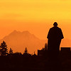 George Washington overlooking the Olympic Mountains.  This photo and the purple version of the same scene were taken about a hour apart as I sat there with my back to Suzallo Library and watched the colors change as the sun slowly set
