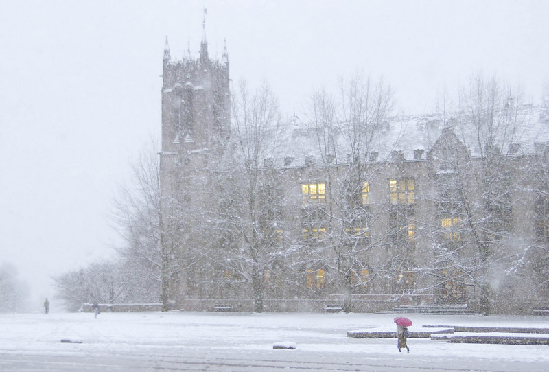 Gerberding Hall in the Snow