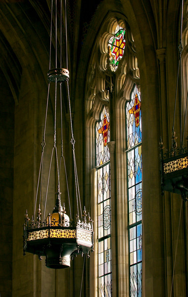 Chandelier and stained glass in the Graduate Reading Room of Suzzallo Library
