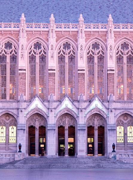 Facade of Suzzallo Library at dusk