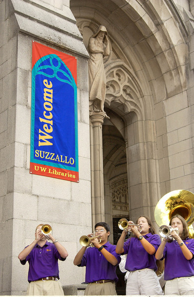 "Celebration of the reopening of Suzzallo Library after its renovation in 2002.  Note the ""thought"" figure on his perch at the top of the portal.  I wonder what he thinks of the Husky Marching Band"