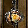 Lighted Globe in the Graduate Reading Room of Suzzallo Library.  There are two of these in the reading room, one at either end of the spacious room.  This one is at the west end.