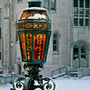 Latern at Suzzallo Library entrance with Gerberding Hall in background
