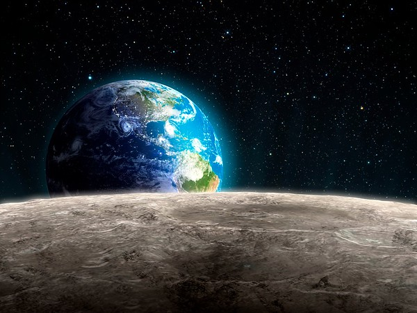 Mond No.  View of the rising Earth seen from the Moon
