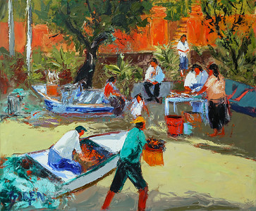 Selling Fish On The Beach 30x36 oil