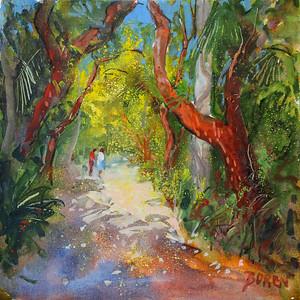 Jungle Walk 16x16 wc on canvas