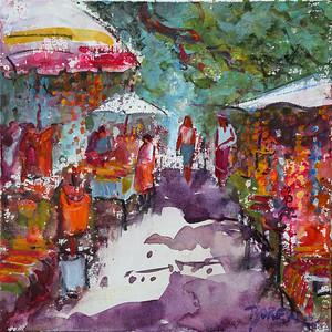 Gypsy Market Sayulita 12x12 wc on canvas