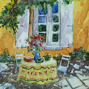 Provence Memories 16x16 wc on canvas