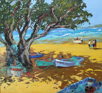 Pongas_Under_The_Shade_Of_The_Tree_46x50_Oil