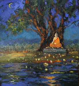 Candle_Light_Meditation_Under_The_Buddha_Tree_36x40_oil