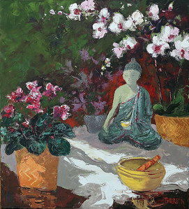 Buddha_Singing_Bowl_&_Orchids_36x40_oil