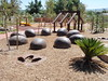 dinosaur egg sculpture and footprint and open plan cubby