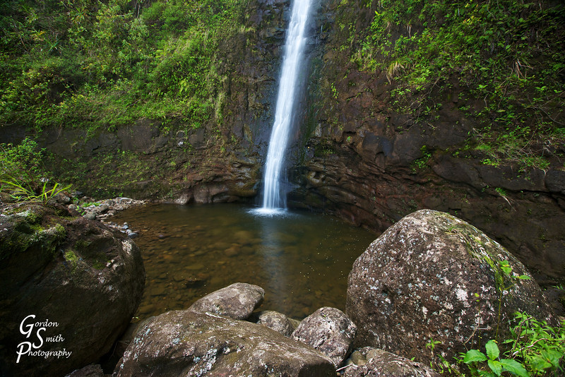 Makaleha Waterfall<br /> This waterfall takes a good half-day hike to reach as it goes on the worst trail I've ever experienced through thick jungle and up the boulder-strewn river.