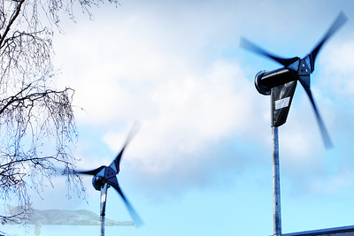 Wind Turbines on a Factory Roof