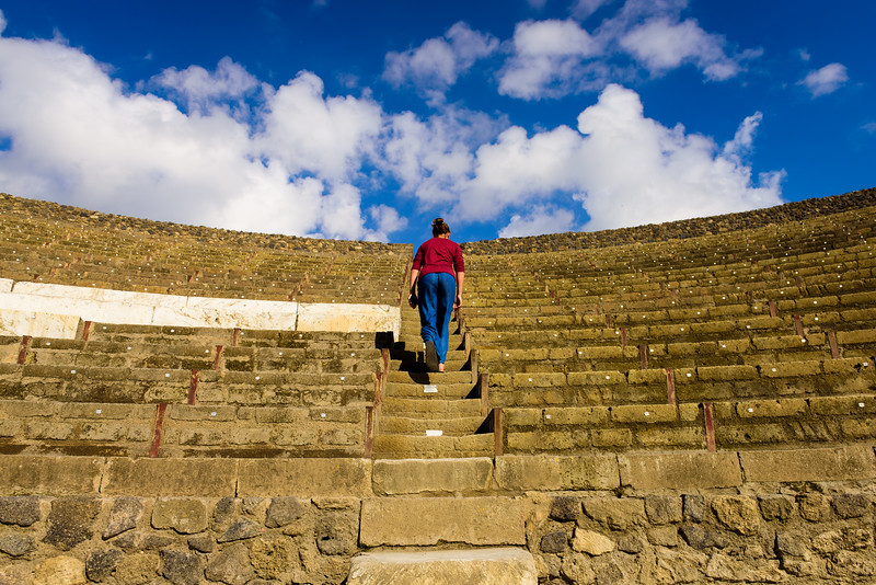 Walking up the Steps of the Amphitheater - Pompeii
