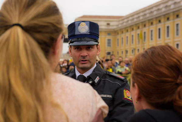 Papal guard asks Heidi if she wants Claire to be blessed by Pope Francis