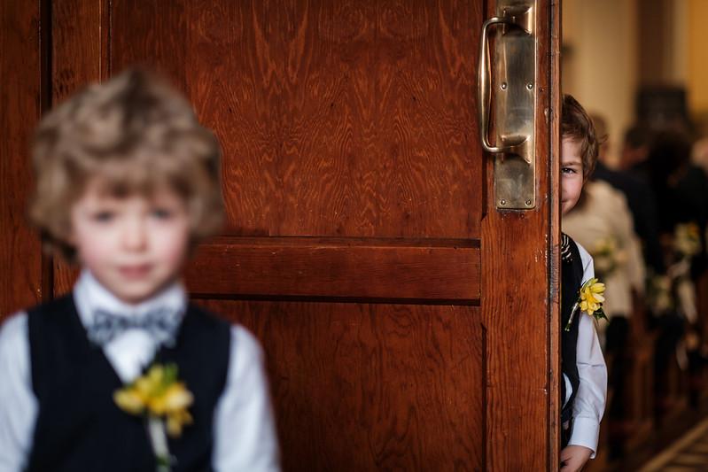 Pageboy behind door