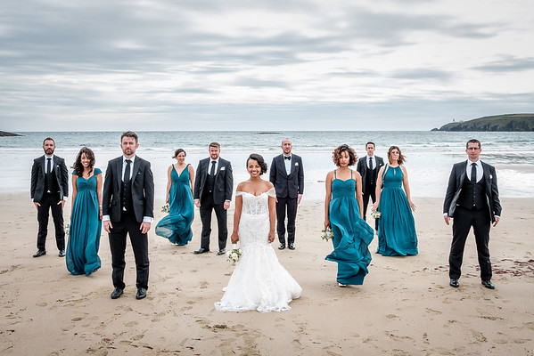Bridal party on beach