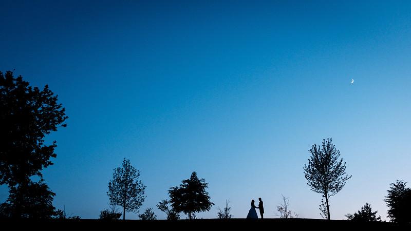 Bride and groom dusk silhouette