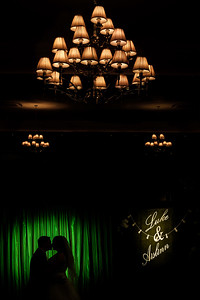 Bride and groom chandelier and names silhouette