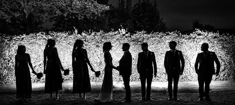 Bridal party silhouette outdoors