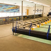 Touring the University of Iowa crew boathouse. This is the largest powered indoor rowing tank in the world.