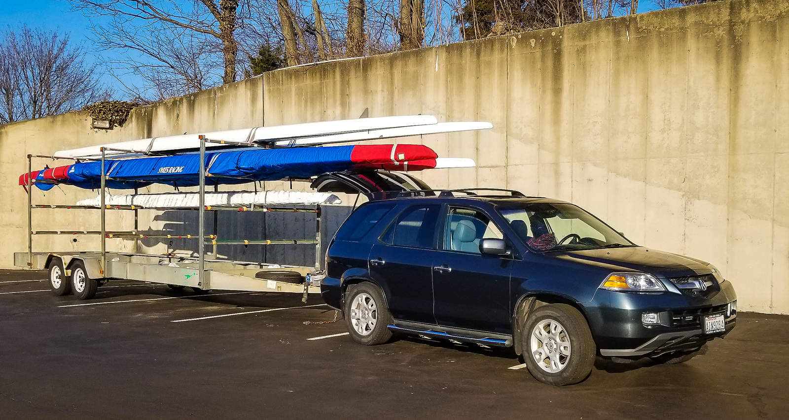 Back to our originally-scheduled program. Here's Richard's car hooked up to Richard's boat trailer. After a two day delay, we're finally ready to start the long trip back home.