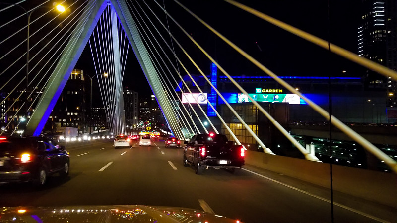 Going over Zakim Bridge in Boston