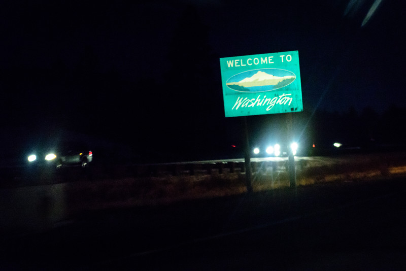Washington was the only state we drove through that put the sign in the left side of the highway.<br /> <br /> We spent another night on the road, in Spokane, but at least we were in our home state.