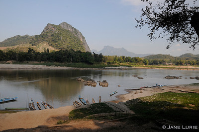 The lush landscape of the Mekong River, Laos.