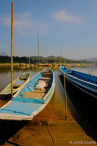 Long Boats at Rest on the Mekong, Laos