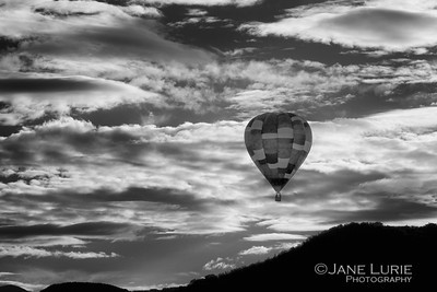 Balloon and Clouds, Black and White