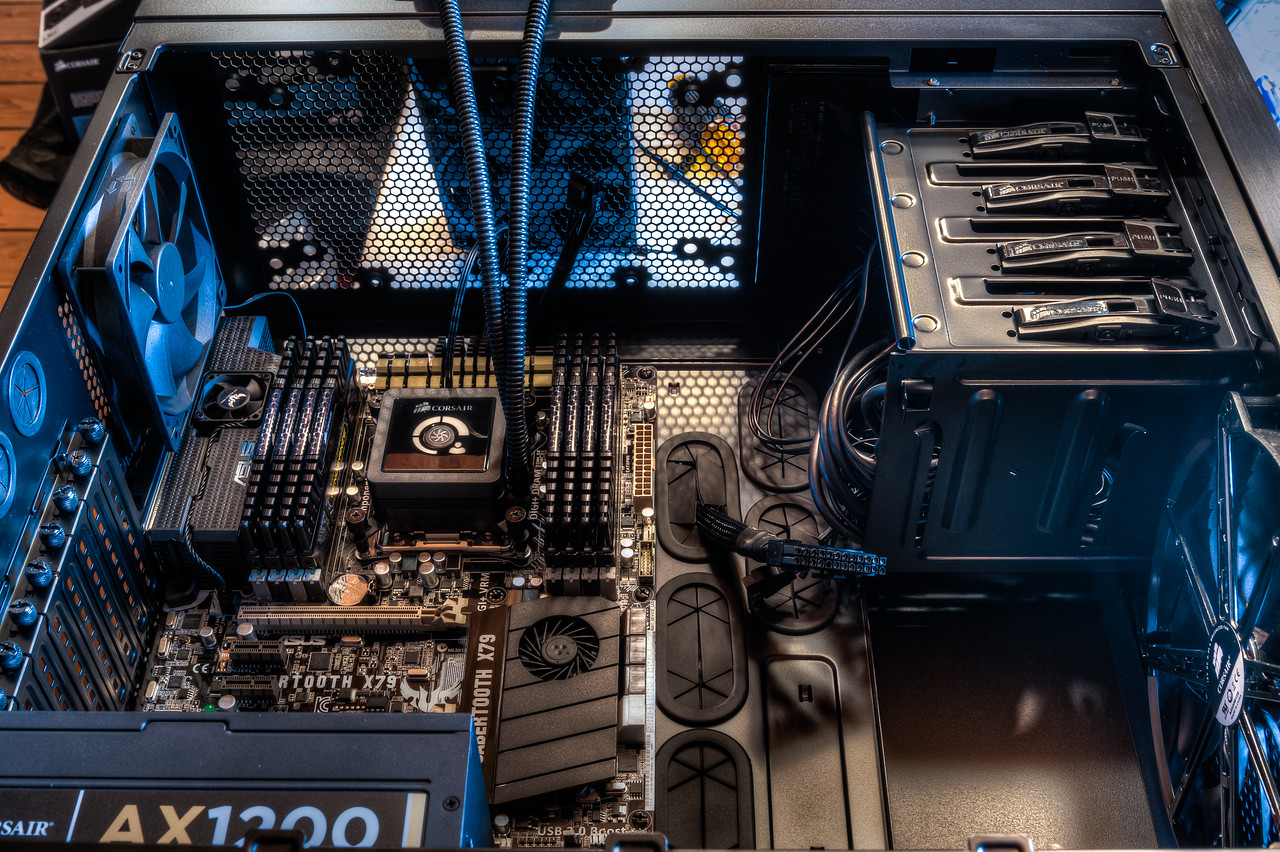 The motherboard has been mounted into the case.  This didn't go quite as smoothly as I would have hoped, but it happened.  It was at this point that I lost a screw inside the case.  I don't recall that I ever found it.