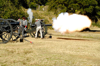 Reenactors with the 13th Battalion, North Carolina Light Artillery, D-Company demonstrate the firing of a 10-pound Parrot cannon at the 146th Anniversary of the Fall of Ft. Anderson in Brunswick Town, North Carolina on Sunday, February 20, 2011. Photo Copyright 2011 Jason Barnette
