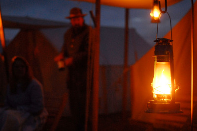 The camps are lit at night by candles, torches, and lanterns only. The Skirmish at Gamble's Hotel happened on March 5, 1885 when 500 federal soldiers, under the command of Reuben Williams of the 12th Indiana Infantry, marched into Florence to destroy the railroad depot but were met by Confederate soldiers backed up with 400 militia. The reenactment, held by the 23rd South Carolina Infantry, was held at the Rankin Plantation in Florence, South Carolina on Saturday, March 5, 2011. Photo Copyright 2011 Jason Barnette