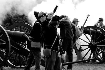 Smoke begins to obscure the field after an artillery demonstration at Patriots Point in Mt. Pleasant, South Carolina on Sunday, April 10, 2011. ..The 150th Anniversary of the Firing on Ft. Sumter was commemorated with lectures, performances, demonstrations, and a living history throughout the area on James Island, Charleston, Mt. Pleasant, and Sullivan's Island during the week from April 8-14, 2011. Photo Copyright 2011 Jason Barnette