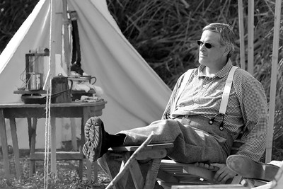 A reenactor relaxes after a long day of demonstrations and living history at Patriots Point in Mt. Pleasant, South Carolina on Sunday, April 10, 2011. ..The 150th Anniversary of the Firing on Ft. Sumter was commemorated with lectures, performances, demonstrations, and a living history throughout the area on James Island, Charleston, Mt. Pleasant, and Sullivan's Island during the week from April 8-14, 2011. Photo Copyright 2011 Jason Barnette