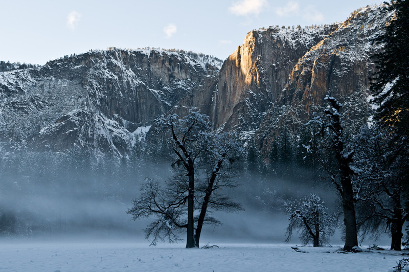 Late afternoon mist below Yosemite Falls